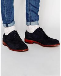 PS by Paul Smith   Blue Nevsky Suede Brogue Derby Shoes   Lyst