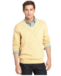 Izod | Yellow Argyle V-neck Sweater for Men | Lyst