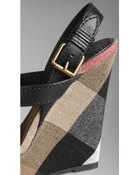 19df256cd49f Lyst - Burberry Canvas Check Leather Platform Wedges in Black