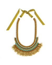 Margot & Me - Orange Crochet Necklace Willow In Gold - Lyst