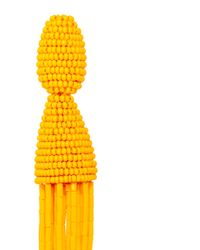 Oscar de la Renta | Yellow Long Bugle Bead Tangerine Tassel Earrings | Lyst