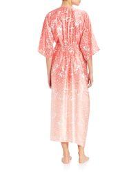 Oscar de la Renta - Pink Printed Satin Robe - Lyst