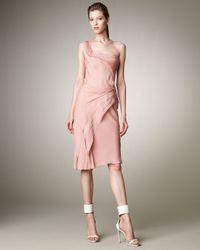 J. Mendel - Pink One-shoulder Layered Dress - Lyst