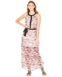 Kensie | Red Printed Belted Maxi Dress | Lyst