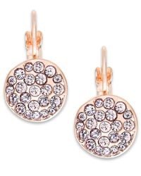 INC International Concepts - Pink Rose Gold-tone Crystal Disc Drop Earrings - Lyst