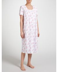 f12f46a359 John Lewis Rose Print Dobby Nightdress in Gray - Lyst