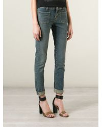 Saint Laurent - Blue Skinny Mid-Rise Stretch-Denim Jeans - Lyst