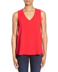 Gibson | Red V-neck Sleeveless High/low Blouse | Lyst
