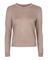 TOPSHOP | Pink Fine Gauge Knit Sweater | Lyst