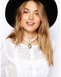 ASOS - Black Multi Row Faux Pearl Choker Necklace with Cameo - Lyst