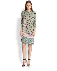 Tsumori Chisato | Green Octupus Mixedprint Paneled Wool Dress | Lyst