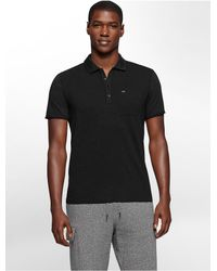 Calvin Klein | Black Jeans Slim Fit Garment Dye Cotton Slub Polo Shirt for Men | Lyst