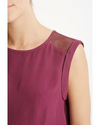 Forever 21 - Pink Contemporary Netted Mesh-paneled Top - Lyst