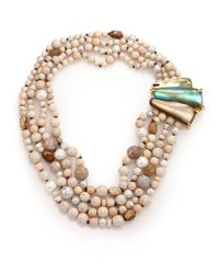 Alexis Bittar | Natural Desert Jasmine Lucite, White Onyx, Wood, Fossil & Shell Pearl Multi-Strand Necklace | Lyst