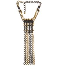 Lanvin - Metallic Leather Chain Necklace - Lyst
