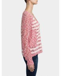 White + Warren | White Textured Stripe V Neck | Lyst