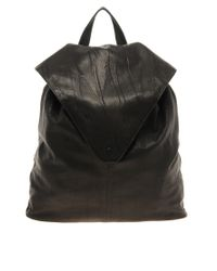 ASOS | Black Leather Backpack With Pointed Flap | Lyst