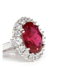 CZ by Kenneth Jay Lane | Red Oval Cut Cubic Zirconia Ring | Lyst