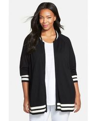 Sejour - Black Sweater Knit Bomber Jacket - Lyst