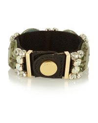 Marni | Green Twill, Leather And Crystal Bracelet | Lyst