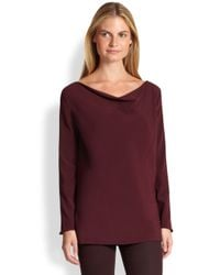 Ralph Lauren Black Label - Red Angeline Stretch Silk Blouse - Lyst