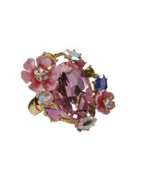 Betsey Johnson | Pink Spring Glam Stone Cluster Flower Ring | Lyst