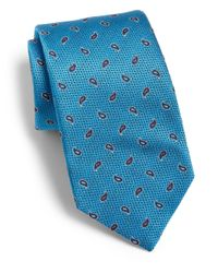Eton of Sweden - Blue Paisley Print Silk Tie for Men - Lyst