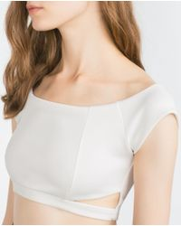 Zara | White Cropped Top | Lyst