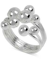 Macy's | Metallic Touch Of Silver Ball Multi-row Ring In Silver-plated Brass | Lyst