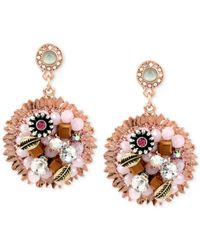 Betsey Johnson | Multicolor Rose Gold-Tone Woven Flower Charm Drop Earrings | Lyst