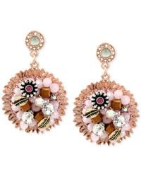 Betsey Johnson - Multicolor Rose Gold-Tone Woven Flower Charm Drop Earrings - Lyst