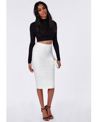 Missguided | Bandage Effect Midi Skirt White | Lyst