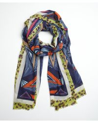 Mir - Multicolor Chartreuse And Blue Triangles And Florals Cashmere Blend Scarf - Lyst