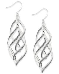 Style & Co. | Metallic Glitter Wavy Teardrop Earrings | Lyst
