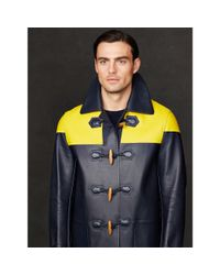 Ralph Lauren Purple Label - Yellow Leather Miller Toggle Coat for Men - Lyst