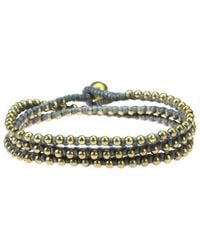Aeravida | Multicolor Triple Wrap Mini Brass Beads Single Strand Gray Cotton Rope Bracelet | Lyst