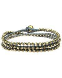 Aeravida - Multicolor Triple Wrap Mini Brass Beads Single Strand Gray Cotton Rope Bracelet - Lyst