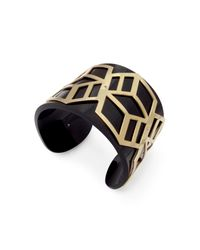 Anna Byers - Wide Perspex Cuff Black And Gold - Lyst