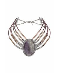 TOPSHOP - Purple Semi Precious Bar Choker - Lyst