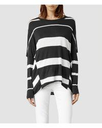 AllSaints - Black Wave Stripe Top - Lyst
