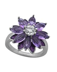 Lord & Taylor | Purple Sterling Silver Amethyst With White Topaz Flower Ring | Lyst