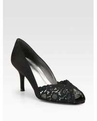 Stuart Weitzman | Black Chantelle Lace Pumps | Lyst
