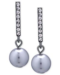 T Tahari | Metallic Hematite-tone Crystal Bar And Grey Imitation Pearl Drop Earrings | Lyst