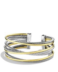 David Yurman - Metallic Crossover Four-row Cuff With Gold - Lyst