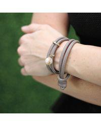Mizuki - Gray Pearl And Slider Wrap Bracelet - Lyst