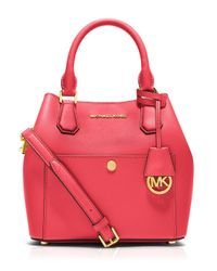 MICHAEL Michael Kors | Red Shoulder Bag - Greenwich Bicolor Bonded Saffiano | Lyst