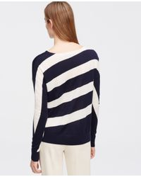 Ann Taylor - Blue Diagonal Stripe Sweater - Lyst