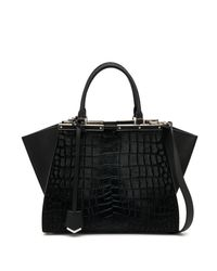 Fendi | Black 3jours Crocodile-embossed Calf Hair & Leather Shopper | Lyst
