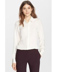 Theory | White 'Lanali' Silk Blouse | Lyst