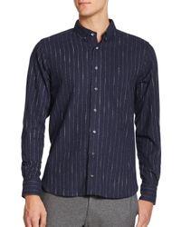 YMC - Blue Pinstripe Cotton Sportshirt for Men - Lyst
